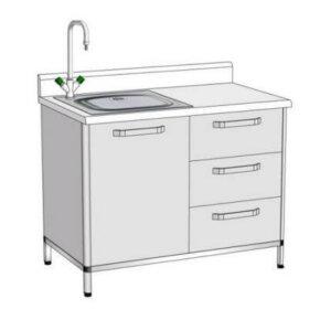 Модуль пристінний з мийкою ПММ-4 (мийка лабораторна)