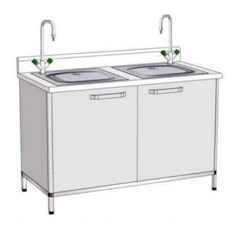 Модуль пристінний з мийкою ПММ-5 (подвійна мийка лабораторна)
