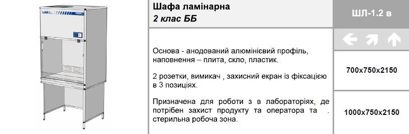 Шафа ламінарна 2 клас ББ ШЛ-1.2